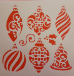 Christmas bauble designs large Mylar sheet for snow spraying windows & card making